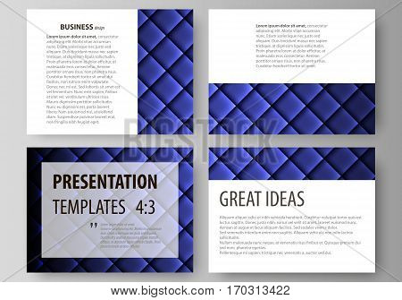 Set of business templates for presentation slides. Easy editable abstract vector layouts in flat design. Shiny fabric, rippled texture, blue color silk, colorful vintage style background