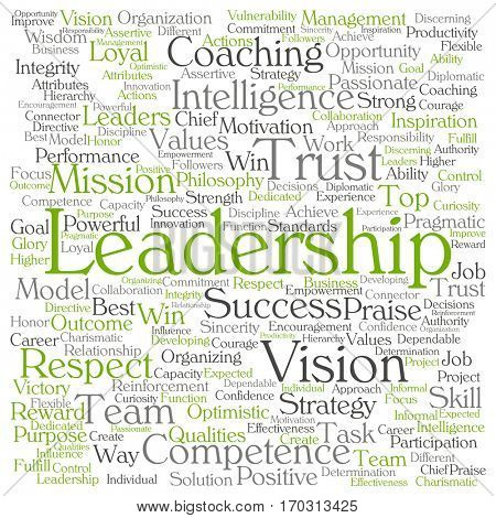 Concept or conceptual business leadership, management value word cloud isolated on background  metaphor to strategy, success, achievement, responsibility, authority, intelligence or competence