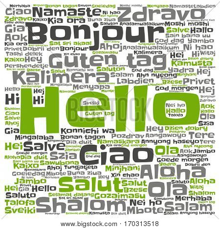 Concept or conceptual abstract hello or greeting international word cloud in different languages or multilingual metaphor to world, foreign, worldwide, travel, translate, vacation or tourism