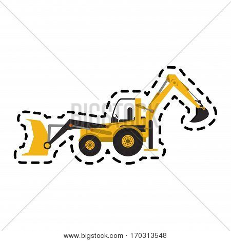 construction front loader truck icon over white background. colorful design. vector illustration
