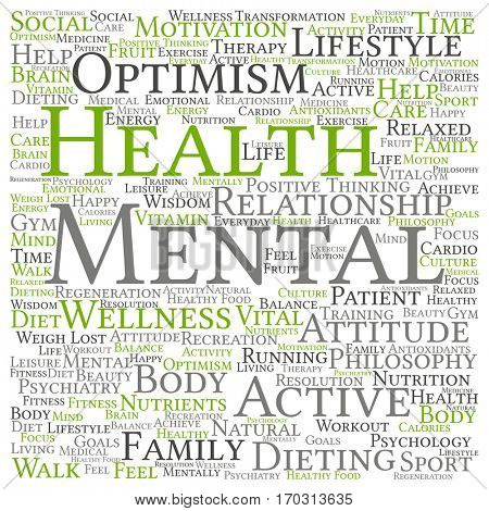 Concept or conceptual mental health or positive thinking abstract word cloud isolated on background metaphor to optimism, psychology, mind, healthcare, thinking, attitude, balnce or motivation