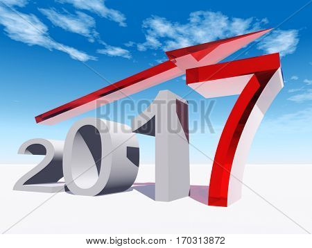Conceptual 3D illustration red 2017 year symbol an arrow on blue sky  background for success growth graph future finance financial new year holiday increase rise date career forecast December progress