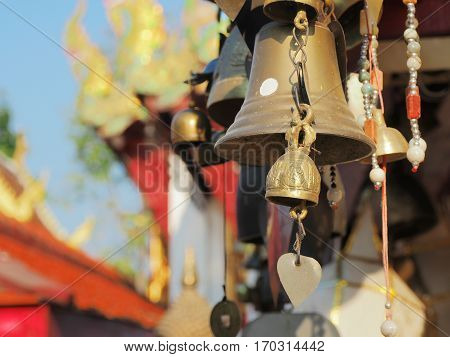 The golden Bell in Buddhist Temple Thailand