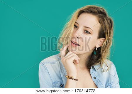 Caucasian Lady Smiling Thinking Positive
