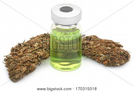 Medicinal cannabis with medicinal drug in a vial over white background