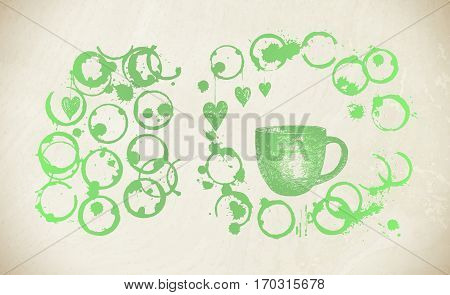 Cup Of Fresh Green Tea With  Tea Stain