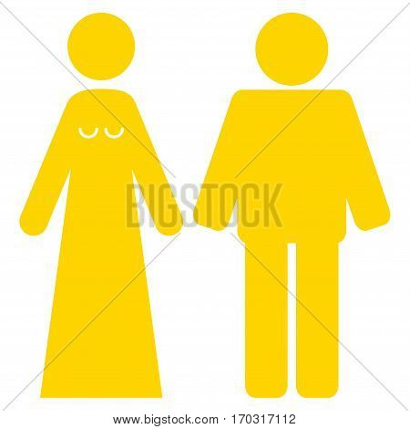 Married Groom And Bribe vector icon symbol. Flat pictogram designed with yellow and isolated on a white background.