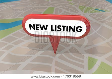 New Listing Home House for Sale Real Estate Map Pin 3d Illustration