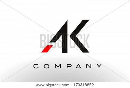 AK Logo. Letter Design Vector with Red and Black Colors.
