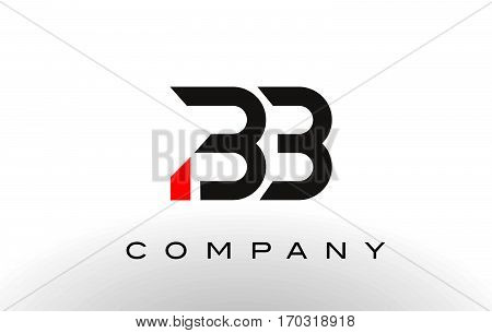 BB Logo. Letter Design Vector with Red and Black Colors.