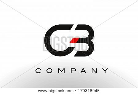 CB Logo. Letter Design Vector with Red and Black Colors.