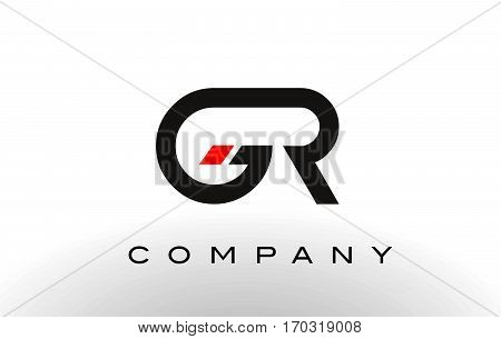 GR Logo. Letter Design Vector with Red and Black Colors.