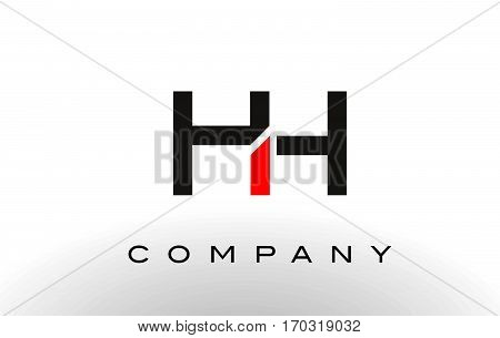 HH Logo. Letter Design Vector with Red and Black Colors.