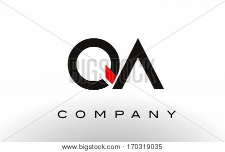 QA Logo. Letter Design Vector with Red and Black Colors.