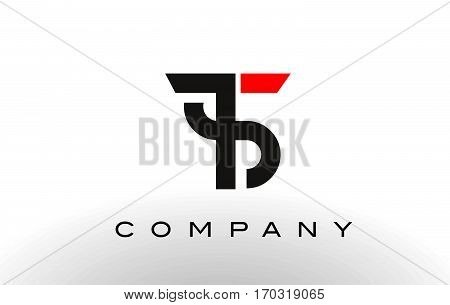 TS Logo. Letter Design Vector with Red and Black Colors.