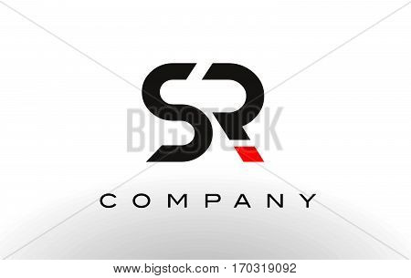 SR Logo. Letter Design Vector with Red and Black Colors.