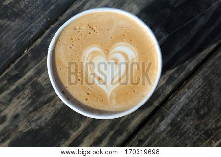 Latte. Coffee Latte with a heart shape in the foam for Valentines Day.