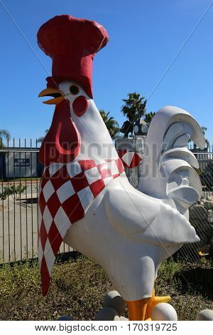 Chicken Statue. Giant Chicken or Rooster.