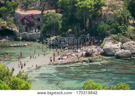 View of beach and island Isola Bella at Taormina, Sicily