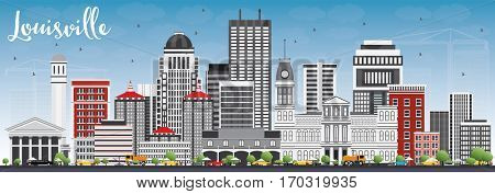 Louisville Skyline with Gray Buildings and Blue Sky. Business Travel and Tourism Concept with Modern Architecture. Image for Presentation Banner Placard and Web Site.