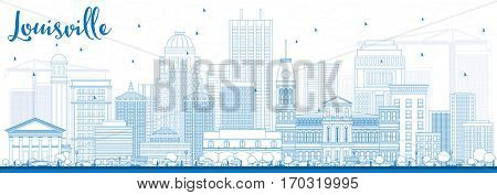 Outline Louisville Skyline with Blue Buildings. Business Travel and Tourism Concept with Modern Architecture. Image for Presentation Banner Placard and Web Site.