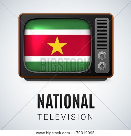 Vintage TV and Flag of Suriname as Symbol National Television. Tele Receiver with Surinamese flag