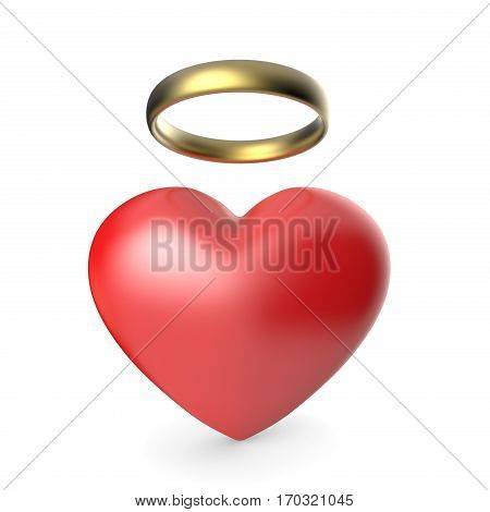Angel heart. 3D render illustration isolated on white background