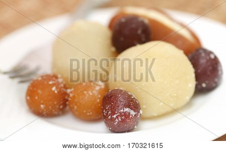 Close up of Popular Bangladeshi sweetmeats in a plate