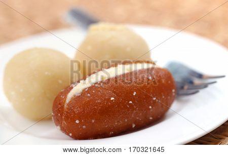 Closeup of Popular Bangladeshi sweetmeats in a plate