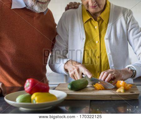 Senior Couple Cooking Food Kitchen