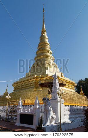 Golden Pagoda At Wat Phra That Chae Haeng Temple
