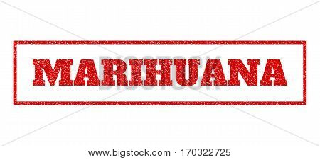 Red rubber seal stamp with Marihuana text. Vector message inside rectangular banner. Grunge design and dirty texture for watermark labels. Scratched emblem.