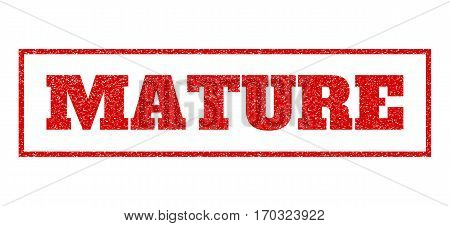 Red rubber seal stamp with Mature text. Vector tag inside rectangular frame. Grunge design and scratched texture for watermark labels. Scratched sticker.