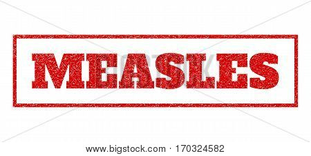 Red rubber seal stamp with Measles text. Vector caption inside rectangular banner. Grunge design and scratched texture for watermark labels. Scratched sticker.