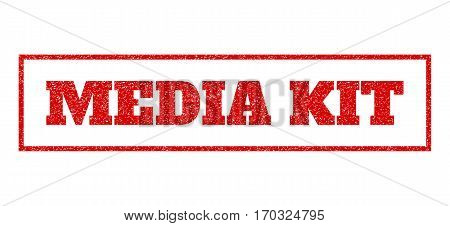 Red rubber seal stamp with Media Kit text. Vector message inside rectangular banner. Grunge design and scratched texture for watermark labels. Scratched emblem.