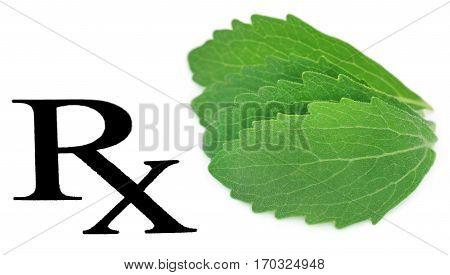 Close up of Prescribed stevia leaf as herbal medicine