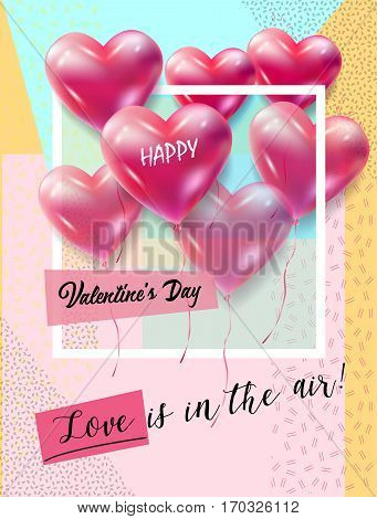 Hearts poster for Valentines Day, Wedding Day, Mothers Day Holiday greeting card festive pink hand made background with hearts Vector Romantic poster. Love, Romance Event, celebration, banner, e-card, Typography postcard envelope. Love is in the air! lett