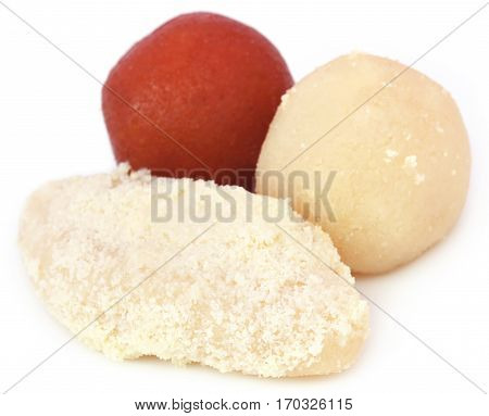 Close up of Popular Bangladeshi Sweetmeats over white background poster