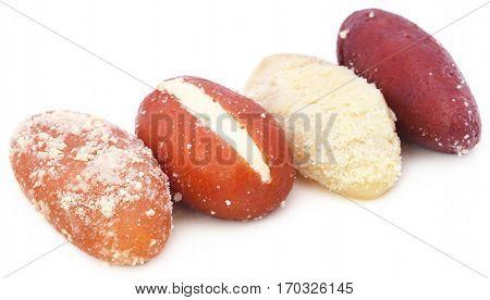 Close up of Popular Bangladeshi Sweetmeats over white background