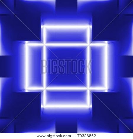 highly technological design of the room with neon elements