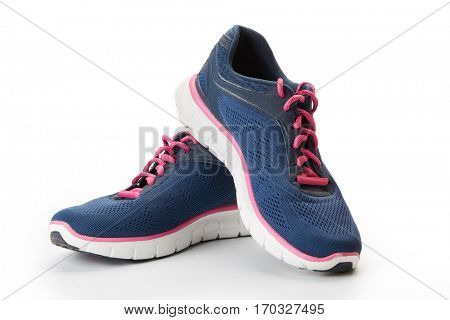 New modern sport running shoes, sneakers or trainer on white background.