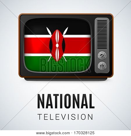 Vintage TV and Flag of Kenya as Symbol National Television. Tele Receiver with Kenyan flag