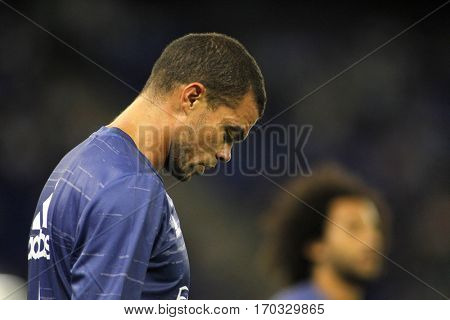 BARCELONA, SPAIN - SEPT, 18: Pepe Lima of Real Madrid before a Spanish League match against RCD Espanyol at the RCDE Stadium on September 18 2016 in Barcelona Spain