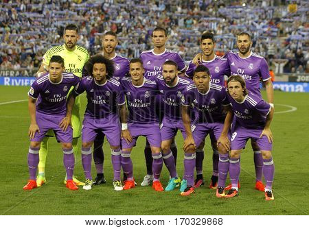 BARCELONA, SPAIN - SEPT, 18: Real Madrid lineup posing before a Spanish League match against RCD Espanyol at the RCDE Stadium on September 18 2016 in Barcelona Spain
