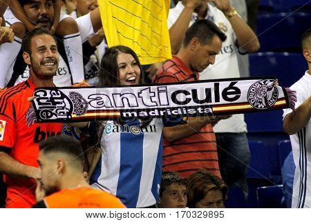 BARCELONA, SPAIN - SEPT, 18: Supporters of Real Madrid during a Spanish League match against RCD Espanyol at the  RCDE Stadium on September 18 2016 in Barcelona Spain