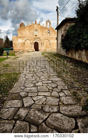 Siracusa, Sicily, church of San Giovanni, Italian destination. Catacombs entrance