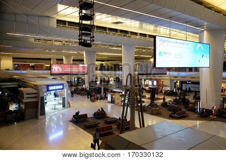 DELHI, INDIA - FEBRUARY 07: Indira Gandhi international airport duty free. Delhi airport is one of the most visited airports in India on February 07, 2016.
