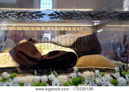 ZAGREB, CROATIA - APRIL 16: Worshippers gather to look at the relics of St. Leopold Mandic in the parish Church of Saint Leopold Mandic, Zagreb, Croatia on April 16, 2016.
