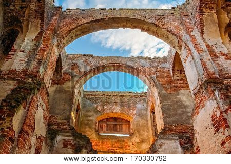 Destroyed arch Orthodox church of St. Nicholas in the village of Lenino, Gomel region, Dobrush district, Belarus