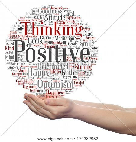 Concept conceptual positive thinking, happy or strong attitude circle word cloud in hands isolated on background metaphor to optimism, smile, faith, goals, courageous, goodness, happiness inspiration
